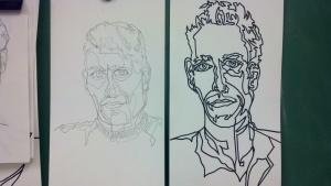 Marker and Pencil Continuous Line Contour Portraits - Frank Korb.