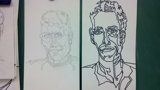 Marker and Pencil Continuous Line Contour Portraits - Frank Korb.