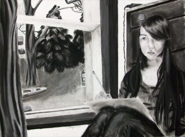 Self-Portraits and Reflection on oneself... charcoal on paper.