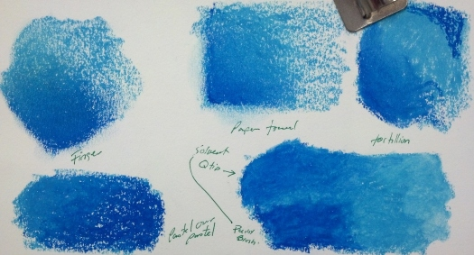 Finger Blend, Paper Towel, Tortillion, Pastel over Pastel, Solvent (with Q-Tip and Brush)