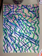 Zig-Zag Marker Lines with Watercolor filling in the negative space.