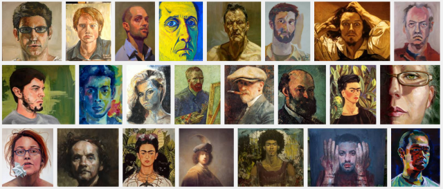 Self Portraits (and Portraits - I want you to make an image important too you!) Suggestion... avoid your current relationships - I don't want to suggest things won't work out but... do you want to risk your relationship on a painting? https://korbartwuhs.files.wordpress.com/2015/11/self-portraits-from-google-2015.png?w=640&h=274