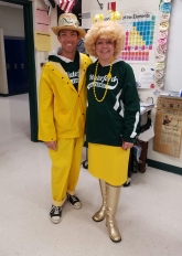 Mr. Korb and Mrs. Smith on School Color Day - Staff = YELLOW (and Sweatshirts)!