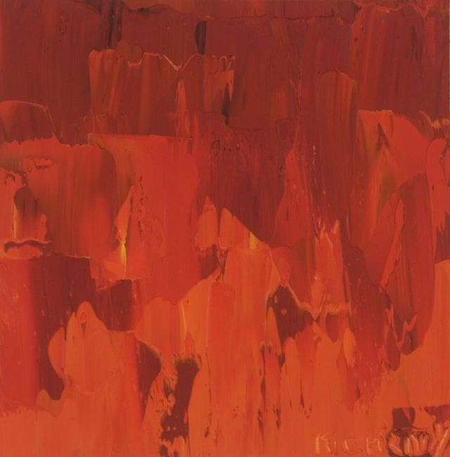Contemporary abstract oil painting on paper.