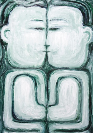 Symmetry Man and Woman The Kiss: http://www.kazuya-akimoto.com/2010/2010images/IMG_9412_The_Naive_Kiss_raw_art_monotone_man_and_woman_symmetry_portrait.jpg