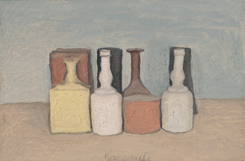 Georgio Morandi Still Life - How are you beginning? http://ahuskofmeaning.com/wp-content/uploads/2012/05/1956-2.jpg