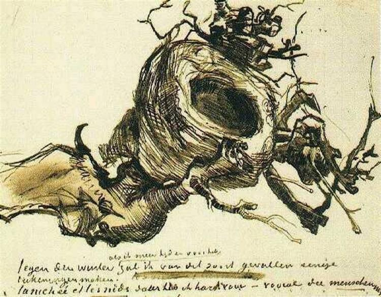 Van Gogh Bird's NEst Drawing Check out those LINES! https://uploads7.wikiart.org/images/vincent-van-gogh/bird-s-nest-1885(1).jpg!Large.jpg