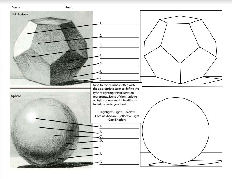 Sphere and Polyhedron Value Changes Chiaroscuro