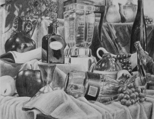 Great Still Life Example: Value - Contrast - Proportion: https://s-media-cache-ak0.pinimg.com/originals/26/a2/57/26a257a172cf5aee46850231a619a3af.jpg
