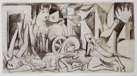Picasso's Drawing of Guernica: http://www.museoreinasofia.es/sites/default/files/styles/foto_horizontal_wide/public/obras/DE00120_0.jpg?itok=YSFdDySJ