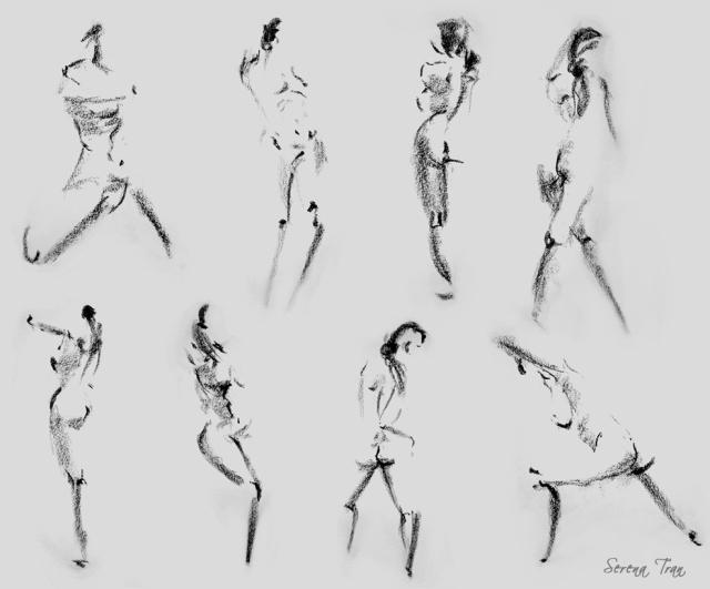 Gesture Drawings - Side of Charcoal - FAST http://www.serenatran.com/images/2dsketchbook/gesture.jpg