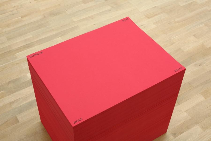 Felix Gonzalez Torres - MANY sheets of paper: http://s3.amazonaws.com/contemporaryartgroup/wp-content/uploads/2011/02/Untitled_-1990.jpg