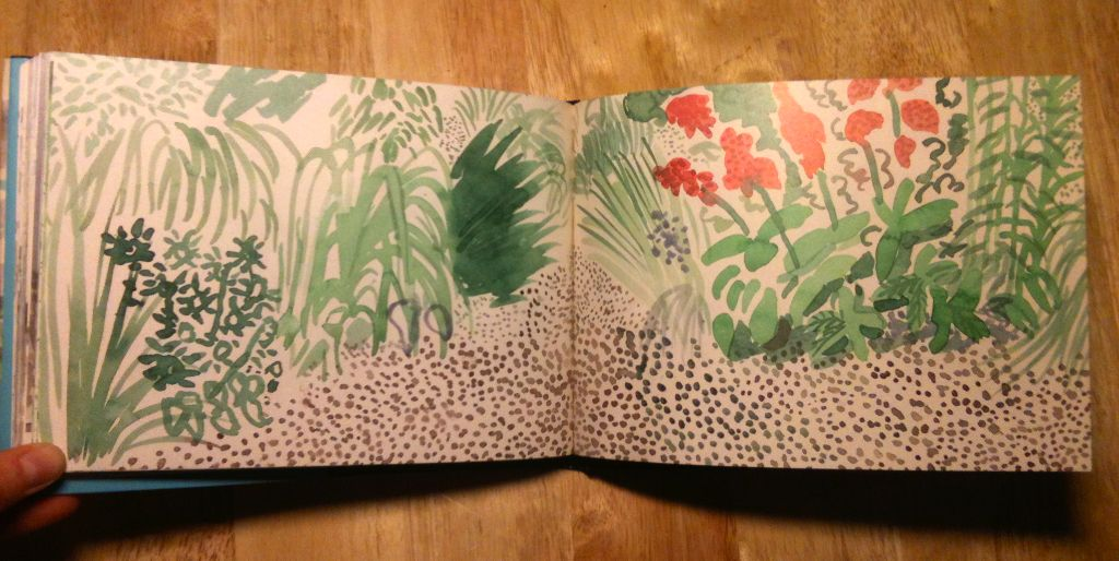 David Hockney Sketchbook: https://s-media-cache-ak0.pinimg.com/originals/3d/41/97/3d41975e7d7857c59bdba50c52279add.jpg