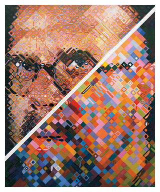 Chuck Close Portrait in Progress: http://www.artyfactory.com/art_appreciation/portraits/chuck_close/chuck-close-working-self-portrait.jpg