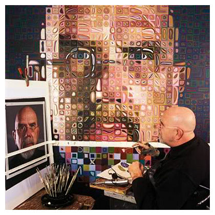 Chuck Close Working: http://www.artyfactory.com/art_appreciation/portraits/chuck_close/chuck-close-working.jpg