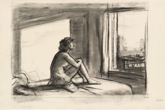 Edward Hopper Drawing of Study for Morning Sun: http://aphelis.net/wp-content/uploads/2014/09/HOPPER_1952_Chalk_study_for_Morning_Sun_WM_70-244.jpg