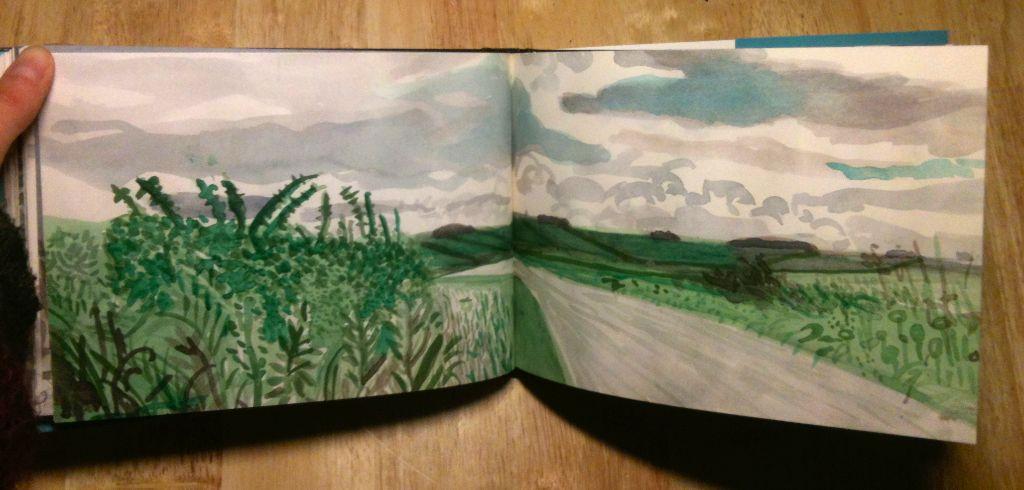 David Hockney Sketchbook Drawings: http://lacarioca.co.uk/wp-content/uploads/2013/01/image18ho.jpg