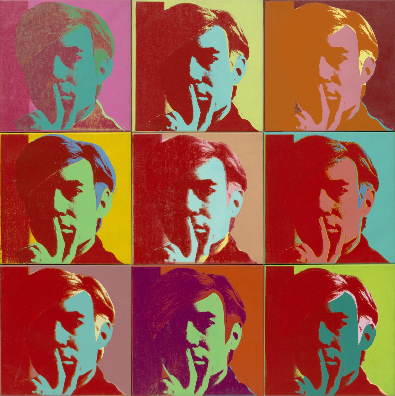 Andy Warhol, Self-Portrait, 1966, 9 Canvases, Museum of Modern Art: https://www.moma.org/media/W1siZiIsIjM0MjYyMiJdLFsicCIsImNvbnZlcnQiLCItcmVzaXplIDEzNjZ4MTM2Nlx1MDAzZSJdXQ.jpg?sha=a2109c3bf865cd29