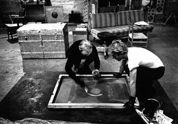 Andy Warhol making Silk Screen Prints - It takes a lot of work to do the job. http://www.wetcanvas.com/Community/images/01-Aug-2012/538491-Gerard_Malanga_silk_screening_with_Andy_Warhol_Factory1965.jpg