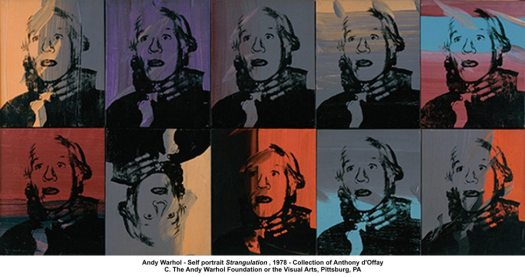 Andy Warhol and HIMSELF: http://artknowledgenews.com/files2009b/Andy_Warhol_Strangulation.jpg