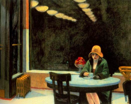 Edward Hopper Automat: http://www.edwardhopper.net/images/paintings/automat.jpg