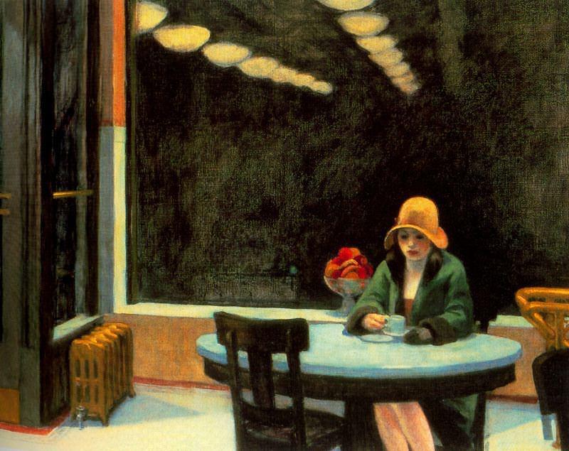 Edward Hopper Automat: http://www.edwardhopper.net/images/paintings/automat.jpg