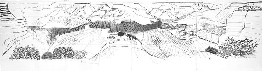 David Hockney's sketchbook unfolded: http://www.hockneypictures.com/images/3-works/2-drawings/90/large/charcoal_closer_canyon_98.jpg