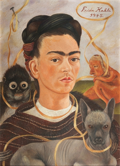 Frida Kahlo and the Self Portrait. What are your symbols? http://beta.thedali.org/wp-content/uploads/2016/08/FK_Autorretratoconchanguito_1945.jpg