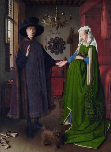 "Jan Van Eyck ""The Arnolfini Wedding"" http://3.bp.blogspot.com/-zzMCtDT8eAY/TfDsmfLvYSI/AAAAAAAAAvo/9_GMs6OWHyY/s1600/jan-van-eyck-arnolfini%2BPortraity%2Bdes%2Bdonateurs.jpg"