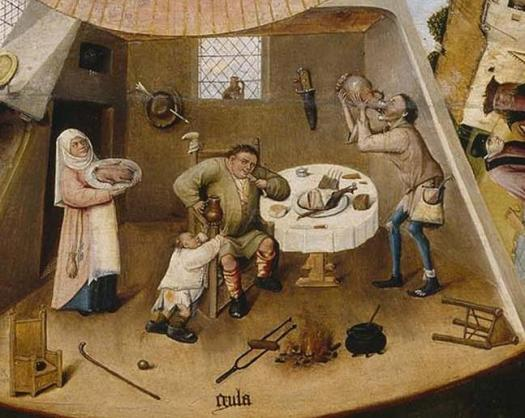 By Hieronymus Bosch - →This file has been extracted from another file: Hieronymus Bosch- The Seven Deadly Sins and the Four Last Things.JPG, Public Domain, https://commons.wikimedia.org/w/index.php?curid=5595816 https://upload.wikimedia.org/wikipedia/commons/d/da/Jheronimus_Bosch_Table_of_the_Mortal_Sins_%28Gula%29.jpg