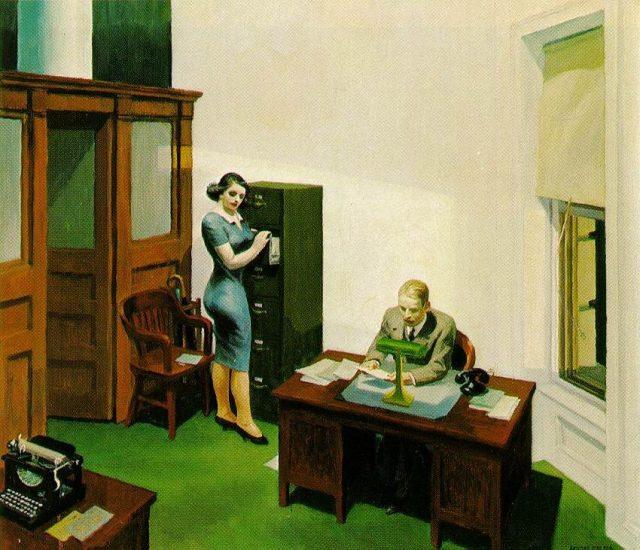 Edward Hopper - Office at Night: http://www.edwardhopper.net/images/paintings/office-at-night.jpg