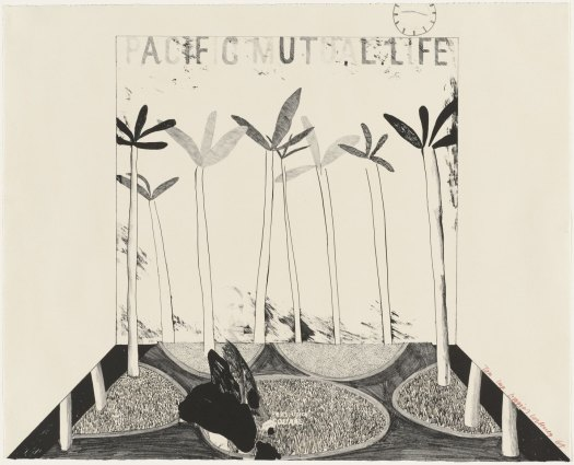 "David Hockney ""Pacific Mutual Life"" Museum of Modern Art, New York: https://www.moma.org/collection/works/76380?locale=en"