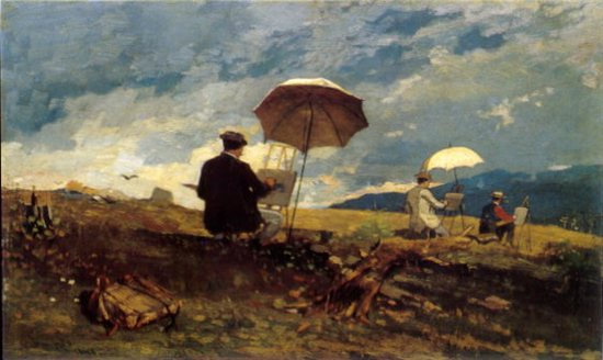 American Plein Air Watercolorist Winslow Homer: http://wwwcdn.artistdaily.com/wp-content/uploads/1641.Winslow_5F00_Homer_5F002D005F00_Artists_5F00_Sketching_5F00_in_5F00_the_5F00_White_5F00_Mountains.jpg