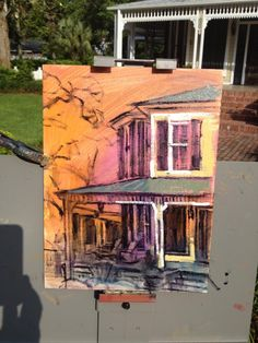 Shelby Keefe and the beginning of the plein air painting. Use of underpaintings of Complimentary Colors. https://s-media-cache-ak0.pinimg.com/236x/21/e1/66/21e166036c15f133263a72427a55997e.jpg