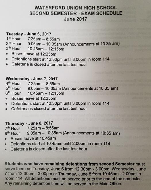 Exam Schedule Spring 2017