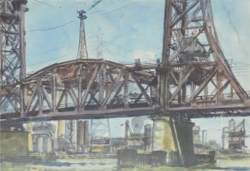 Reginald Marsh: http://www.donbaresefineart.com/images/marsh-reginald-new-york-bridge.jpg