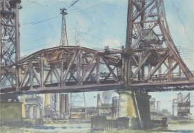 Reginald Marsh: http://www.donbaresefineart.com/images/marsh-reginald-new-york-bridge.jpg
