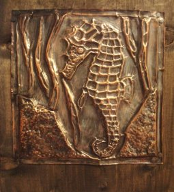 Bas Relief and Stained image - Copper Relief. https://img07.deviantart.net/556c/i/2010/158/8/9/seahorse_copper_tooling_by_coelacanthh.jpg
