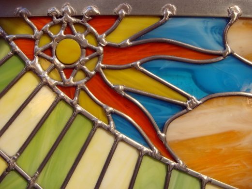 Soldering of Stained Glass: https://c1.staticflickr.com/6/5211/5391700445_504c6a58cd_b.jpg